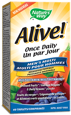 A bottle of Alive brand Mens Tablet vitamins
