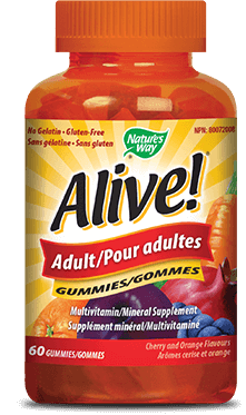 A bottle of Alive brand Adult Gummy vitamins
