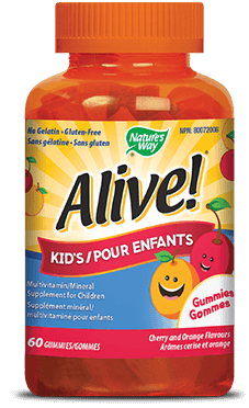 A bottle of Alive brand Kids Gummy vitamins