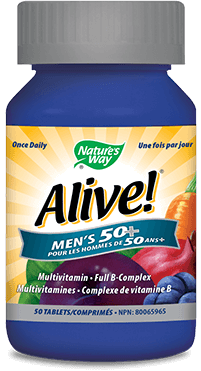 A bottle of Alive brand Mens Fifty Plus Tablet vitamins