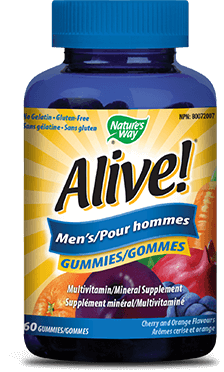 A bottle of Alive brand Mens Gummy vitamins