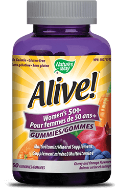 A bottle of Alive brand Womens Fifty Plus Gummy vitamins