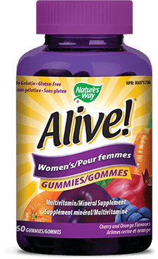 A bottle of Alive brand Womens Gummy vitamins