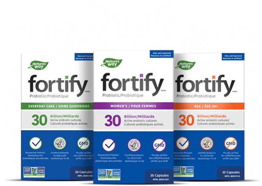 Fortify Probiotics product packaging for original and women's