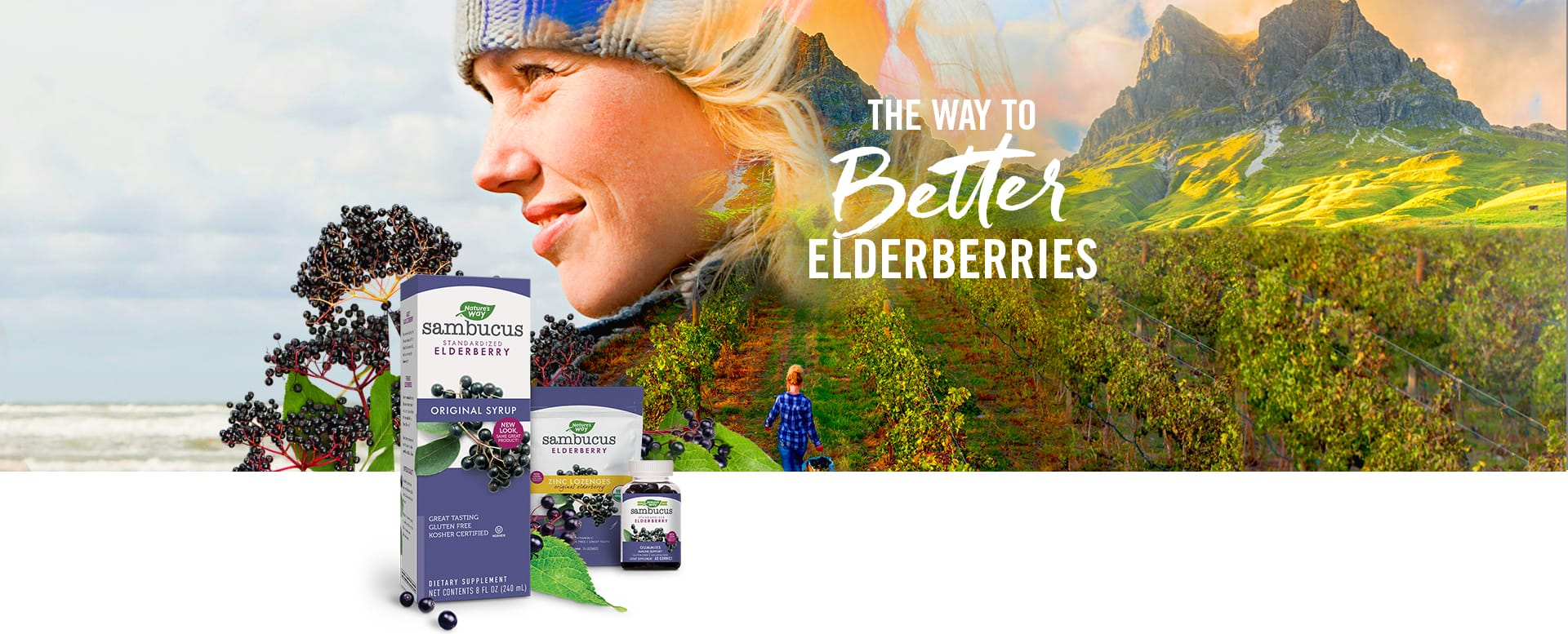 Woman in Elderberry Vineyard with Sambucus Products - The Way to Better Elderberry