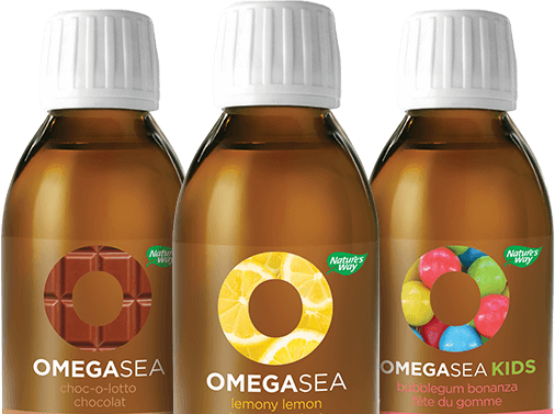 Three bottles of the OmegaSea product