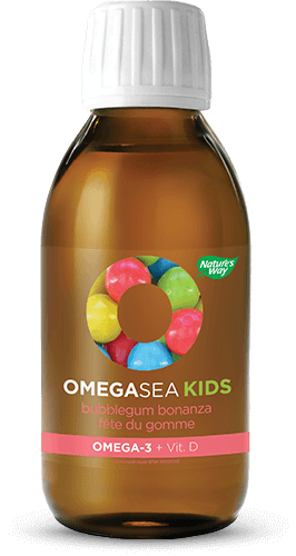 A bottle of OmegaSea Kids bubblegum flavor