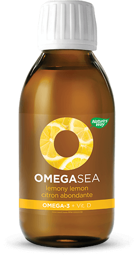 A bottle of OmegaSea Lemon flavor