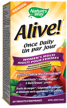A bottle of Alive brand Womens Tablet vitamins