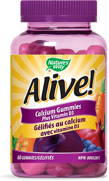 A bottle of Alive brand Calcium Gummy vitamins