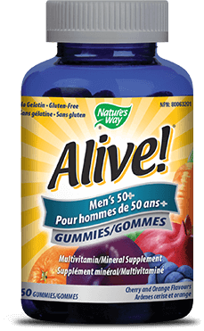A bottle of Alive brand Mens Fifty Plus Gummy vitamins