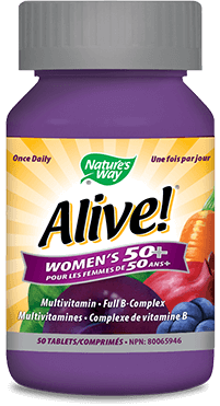 A bottle of Alive brand Womens Fifty Plus tablet vitamins