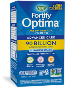 Fortify™ Optima® Age 50+ Advanced Care 90 Billion Probiotic + Prebiotics 30 capsules package