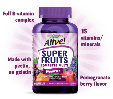 Full B-vitamin complex. 15 vitamins and minerals. Made with pectin, no gluten. Pomegranate berry flavor.