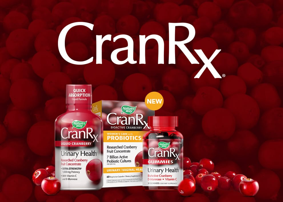 CranRx product bottles and CranRx logo