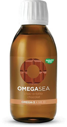 A bottle of OmegaSea chocolate flavor